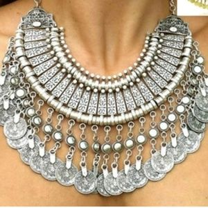 Jewelry - BoHo Coin Statement Necklace_silver